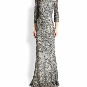 Alice and Olivia beaded black and white gown